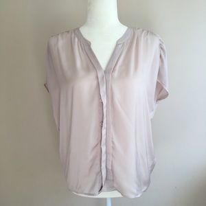 LOFT Blush Pink Button Down Short Sleeve Blouse